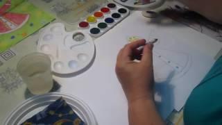 Уроки рисования для детей. Машенька - рисуем мелками и акварелью. (Людмила Кашеварова)