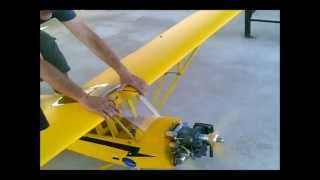 ModelTech giant scale piper cub converted chainsaw engine flying