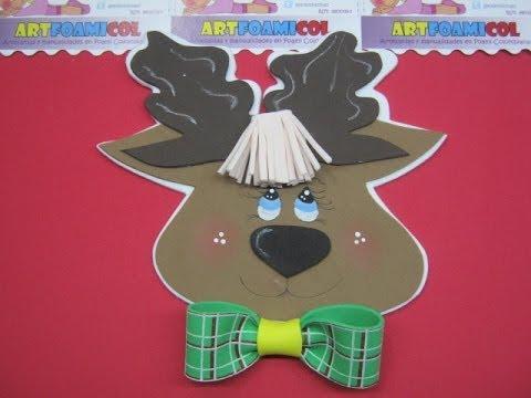 Como hacer reno como aplique para botas navide as en foamy - Como hacer figuras de navidad ...