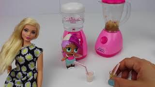 Barbie vs Lol Merbaby Smoothie Challenge !! Ballı Pekmezli 2 Yeni Smoothie Tarifi !! Bidünya Oyuncak