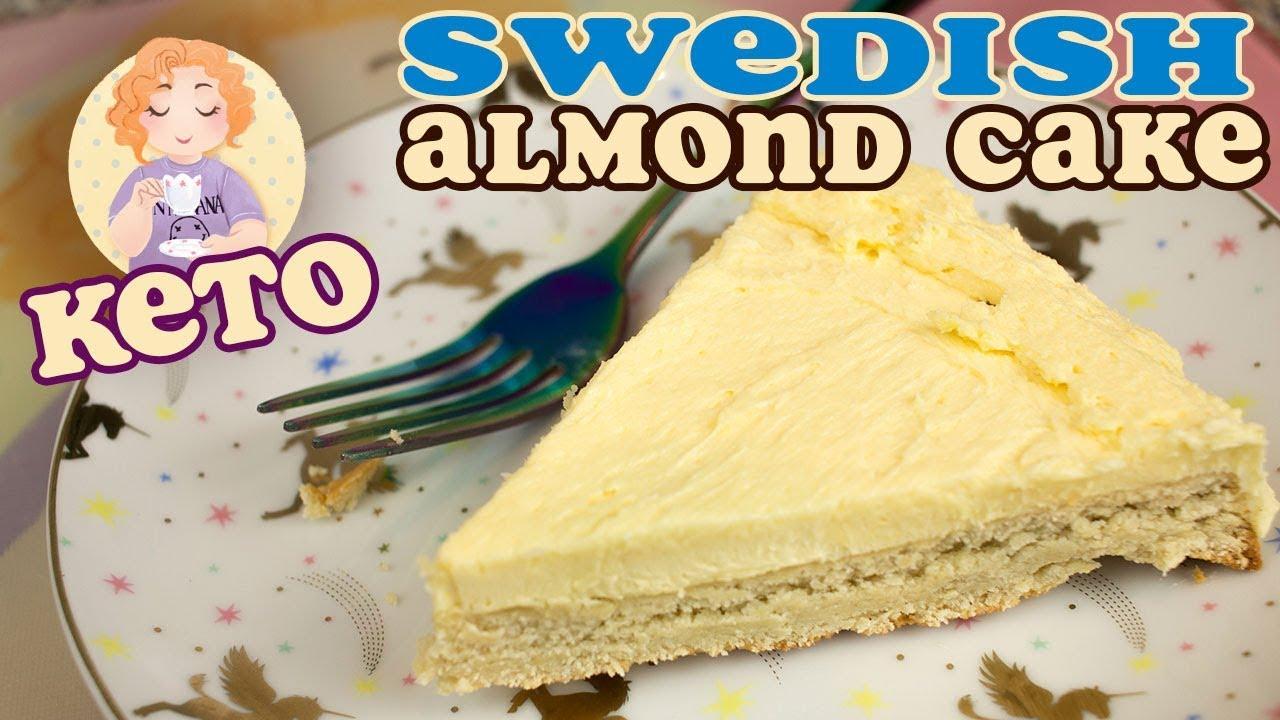 Almond Cake Recipe Keto: Keto Cake Swedish Almond With Low Carb Sugar Free Custard