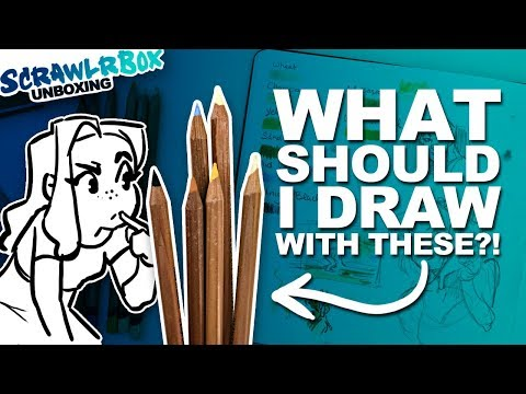 PEOPLE? SEASHELLS?! | Mystery Art Box | Scrawlrbox Unboxing | Toned Paper and Oil Pencils
