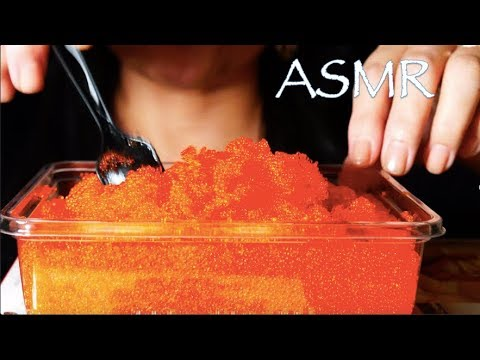 ASMR - TOBIKO EGGS (Flying Fish Roe) MOUTH FULL, CRUNCHY, SOUNDS(EATING SOUNDS)