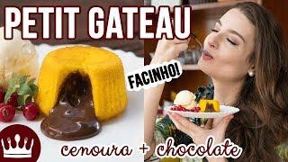 PETIT GATEAU DE BOLO DE CENOURA COM CHOCOLATE (receita fácil)