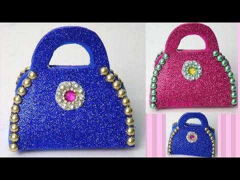 DIY - Ladies purse Glitter foam sheet clutch - Paper Purse Making Tutorial for Girls - Paper purse