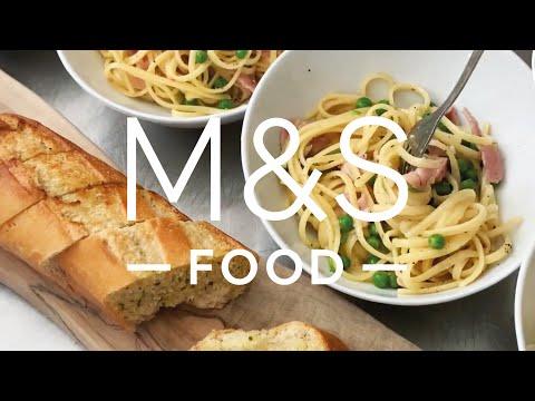 Chris' easy peasy British bacon, pea and cheddar spaghetti   M&S FOOD