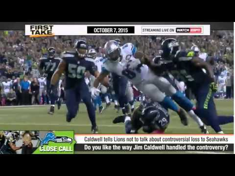 ESPN First Take   Jim Caldwell on No Call Against Seahawks