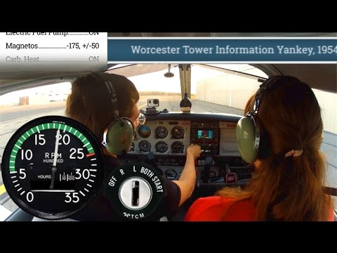 Piper Warrior Startup to Landing with ATC Text, Gauges, and Checklists