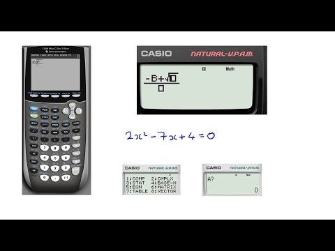 Quadratic formula on Casio and TI-84+ calculators