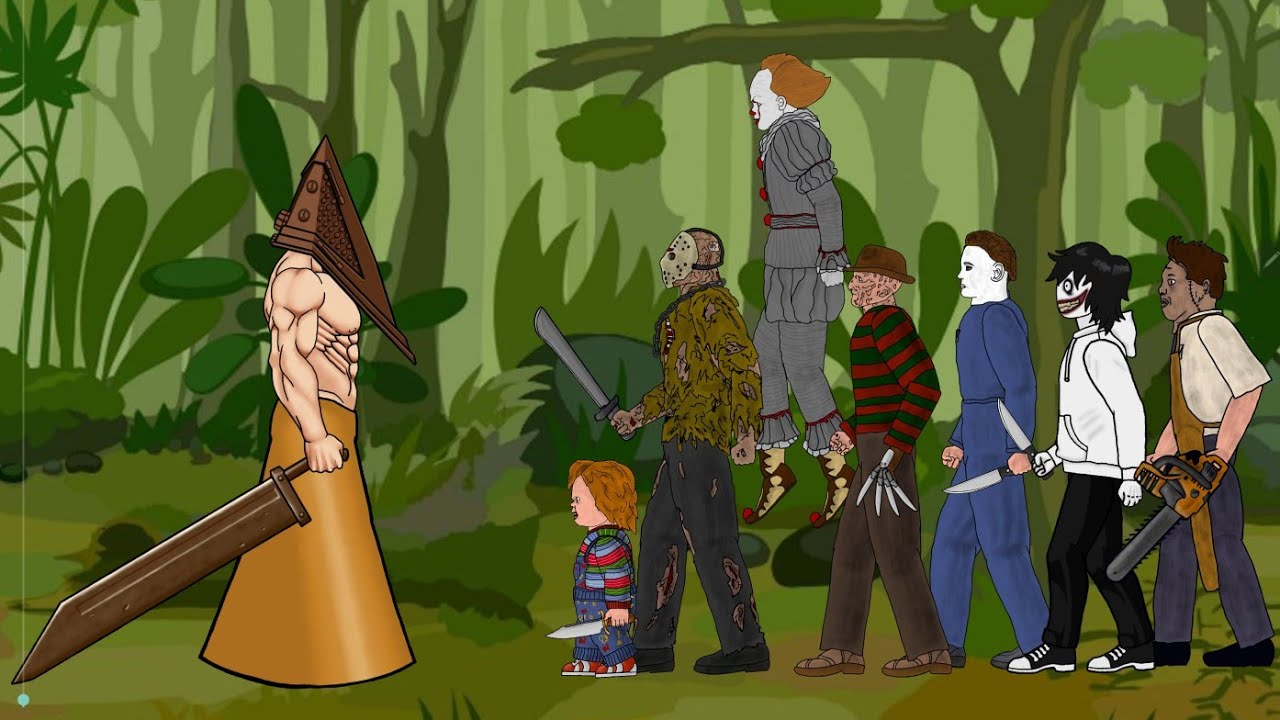 Pyramid Head vs Jason Voorhees, IT Pennywise, Freddy, Michael Myers, Leatherface, Chucky, Jeff [Dc2]