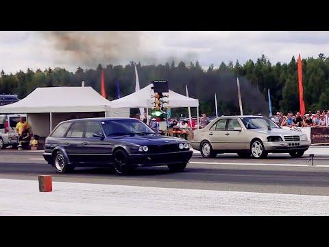 Mercedes C220d 3.0TD BiT vs BMW M5 E34 Touring 2JZ-GTE 1/4 mile drag race