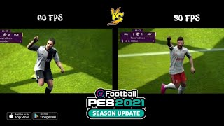 Real Difference between 30 fps & 60 fps __PES 20 Mobile