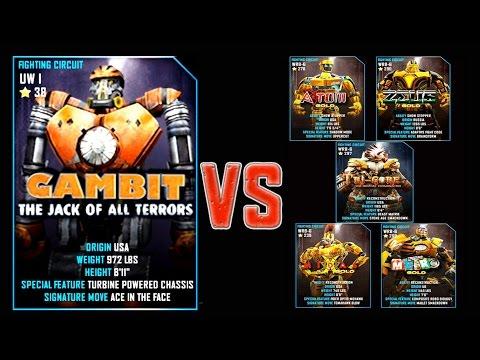 Real Steel WRB FINAL Gambit VS GOLD ROBOTS Series of fights NEW ROBOT (Живая Сталь)