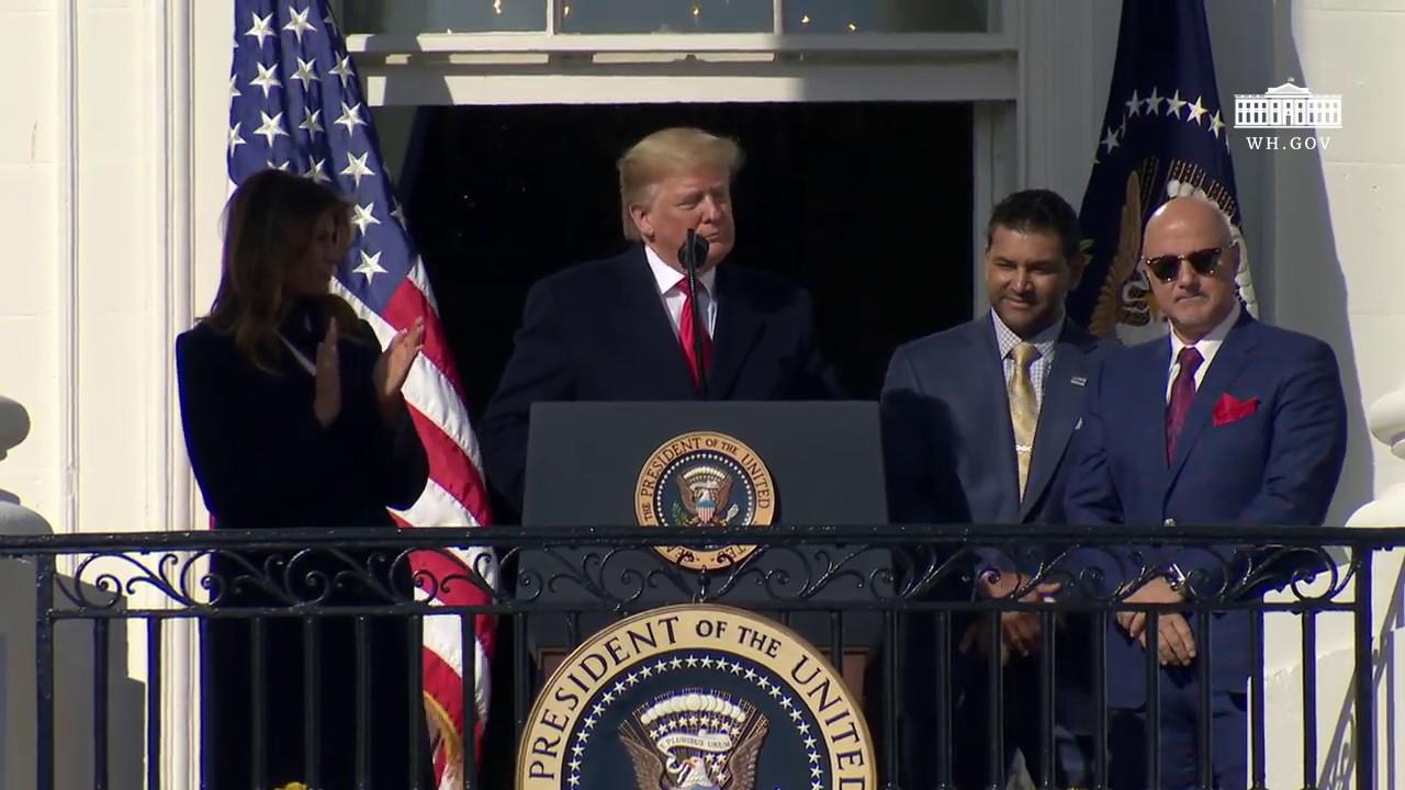 Hasil gambar untuk President Trump Welcomes the 2019 World Series Champions / Gif