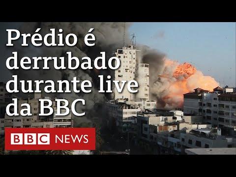 2021 - Durante transmissão ao vivo da BBCO filma momento em que prédio em Gaza é bombardeado ao vivo