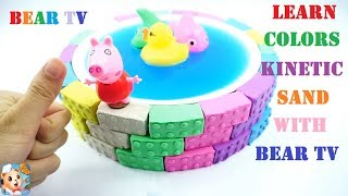 Learn Colors Kinetic Sand | Rainbow Swimming Pool & Surprise Toys | How To Make Toys For Kids
