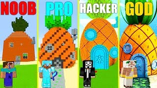 MINECRAFT BATTLE: NOOB vs PRO vs HACKER vs GOD: SPONGEBOB HOUSE CHALLENGE in MINECRAFT