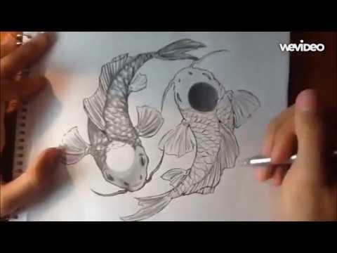 Yin Yang Koi Fish - Pencil + Pen Drawing Timelapse Tutorial