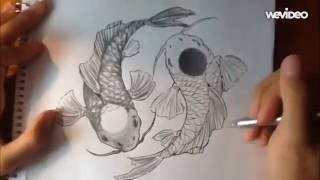 Yin Yang Koi Fish - Pencil + Pen Drawing Timelapse Tutorial