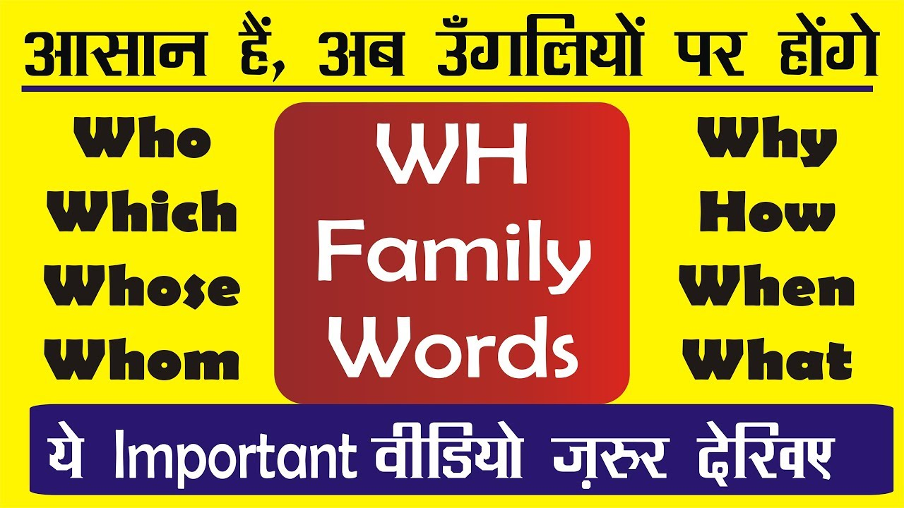 WH Questions in English | WH FAMILY Words Exercises in ...