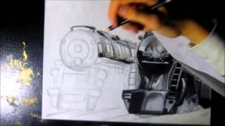 amazing train speed drawing