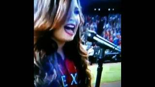 Demi Lovato singing the National Anthem