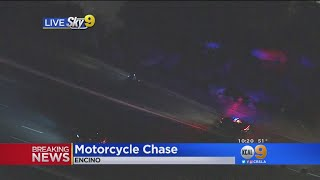 CHP Chase Of Suspect On Motorcycle Ends With Surrender