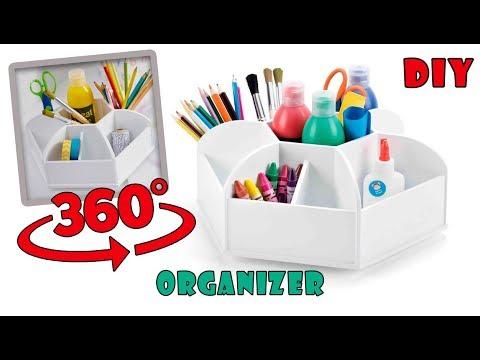 DIY ROTATION ORGANIZER OUT OF CARDBOX//360 Rotating Desk Organizer Easy To Make