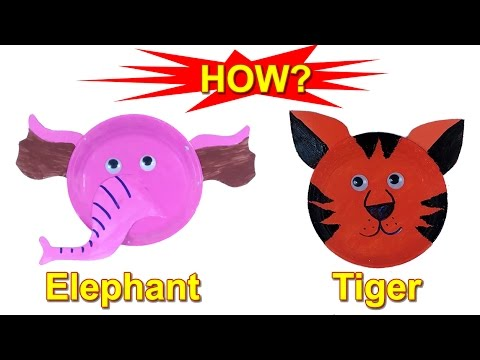 Kid TV | How to make elephant tiger paper plate craft for children | animal mask  sc 1 st  YouTube & Kid TV | How to make elephant tiger paper plate craft for children ...