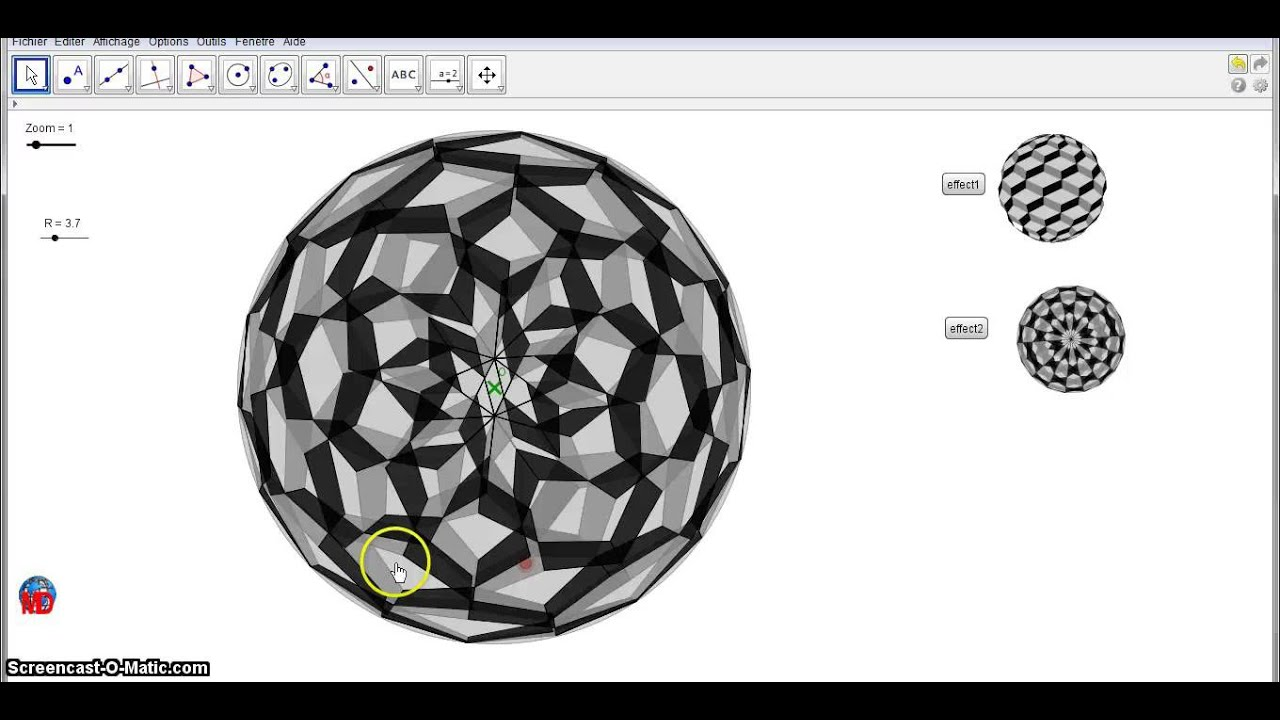 circl 39 art 3d illusion with geogebra youtube. Black Bedroom Furniture Sets. Home Design Ideas