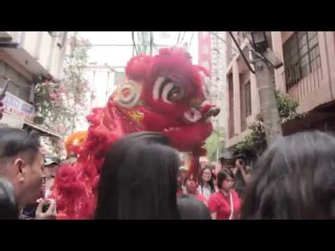Lion Dance tradition in front on a store in Binondo, Manila
