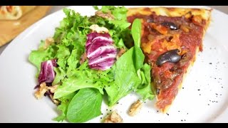 Caramelized Onion Pizza With Radicchio Walnut Salad