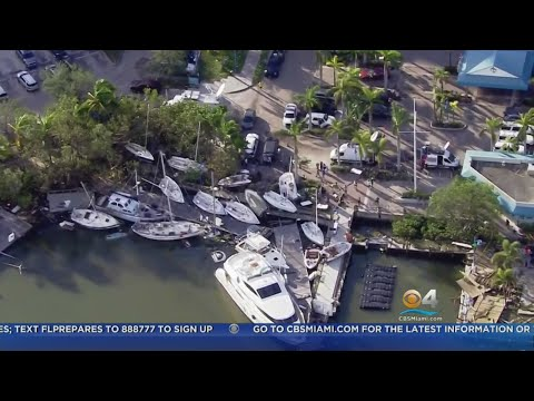 Boats In Coconut Grove Sunk Or Stranded By Hurricane Irma