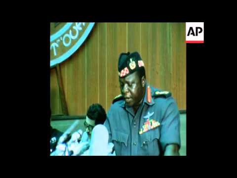 SYND 19 7 75 UGANDAN PRESIDENT, IDI AMIN ADDRESSES A MEETING OF THE ORGANISATION OF AFRICAN UNITY