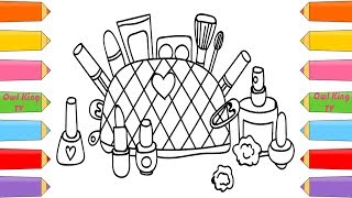 Dạy bé vẽ và tô màu- How to Draw Cosmetics and Accessories for Girls   Learning Coloring Pages   Art Colours for Children
