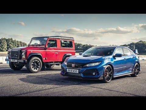 Honda Civc Type R vs Land Rover Defender Works V8 | Top Gear: Drag Races