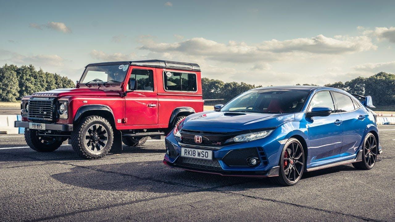 Honda Civc Type R Vs Land Rover Defender Works V8 Top Gear Drag Challenge Races
