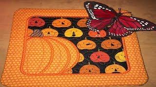 Kreative Kiwi Machine Embroidery ITH In the hoop FREE pumpkin Mug Rug