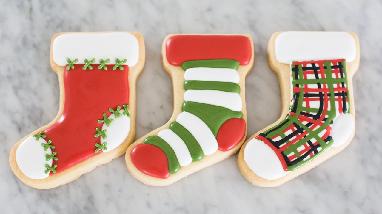 Christmas Stocking Cookies Easy Tutorial
