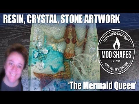 The Mermaid Queen - Art Made of Resin, Crystals, Aquarium Stones