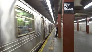 NYC Subway: Jamaica-bound R46 (F) Train Leaving 57th Street-6th Avenue