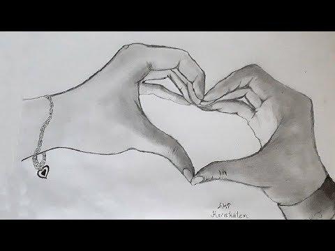 Ekt Karakalem Kalpli El çizimi Karakalem çizimi Youtube