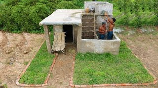 Building Shower Tube On House Villa In the Deep Forest