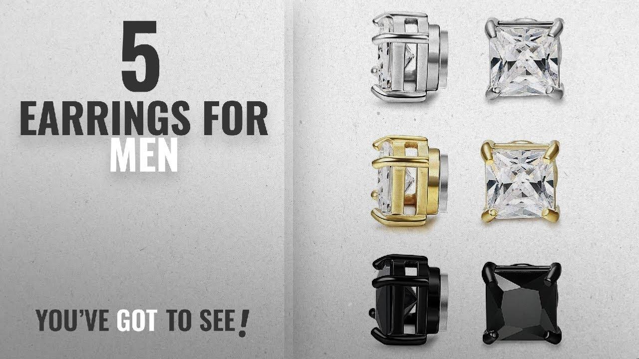 b5fe978384cfb Top 10 Earrings For Men [2018]: BESTEEL 3Pairs Stainless Steel Earrings  Magnetic for Men Women Stud