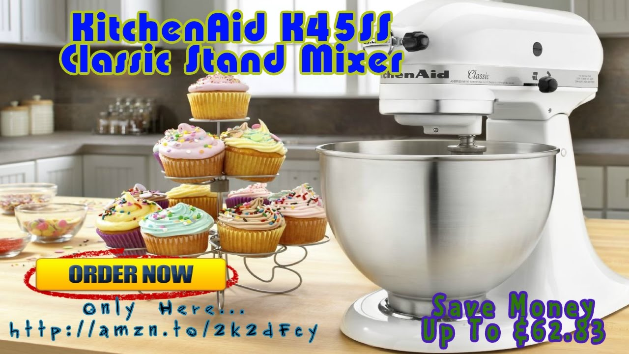 The A Reviews : KitchenAid K45SS Classic Stand Mixer - White - YouTube