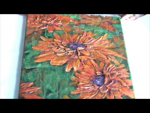 Acrylic painting abstract/ How to make textured flowers