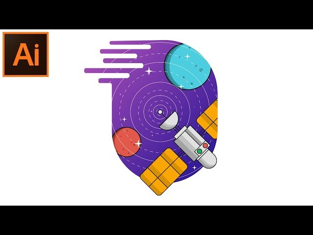 How to Draw a SPACE BACKGROUND - Flat Design - Adobe Illustrator Tutorial
