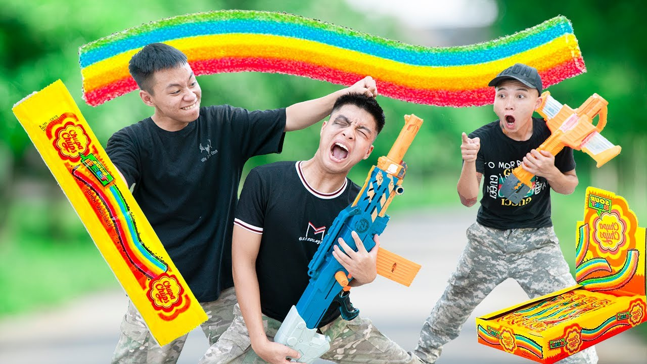 Battle Nerf War: SALESMAN & Blue Police Practice Nerf Guns Robbers Group RAINBOW BATTLE