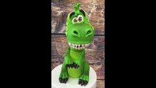 Динозавр из мастики /Green dinosaur /Dinossauro verde/how to make a dinosaur rex cake topper
