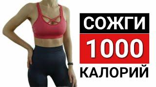 Сжечь 1000 калорий за тренировку | Адская кардио на 1 час тренировка дома